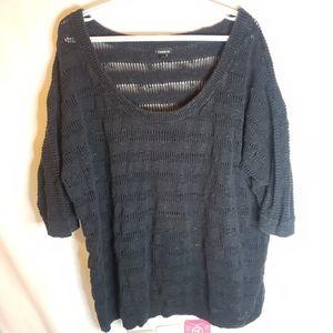 Torrid black open knit stripe sweater size 4 4x